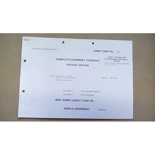 CES CATALOGUE SWITCHBOARD TELEPHONE UNIT LEVEL 16 LINE MANUAL  44410